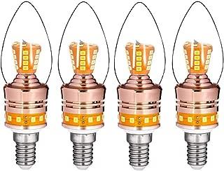 JKLcom E14 LED Candelabra Light 8W LED Candle Bulb,Equivalent 65 Watt Incandescent/Halogen Bulbs,for Chandelier Home Lighting,Warm White 3000K,E14 Candelabra Base,Non-Dimmable,Torpedo Shape,4Pack