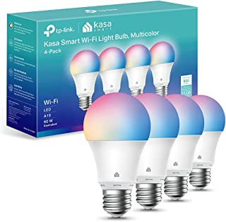 Kasa Smart Light Bulbs, Full Colour Changing Dimmable Smart WiFi Bulbs Compatible with Alexa and Google Home, A19, 9W 800 ...