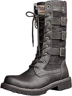 ELECTRI Chaussures pour Hommes Lacets Boucle de Ceinture en Cuir PU Jambe mi-Mollet Bottes de Combat pour Hommes Taille Pl...