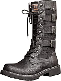 God's pen Boots Men's Black Tide High Boots with Motorcycle Boots, Large Size British Snow Boots