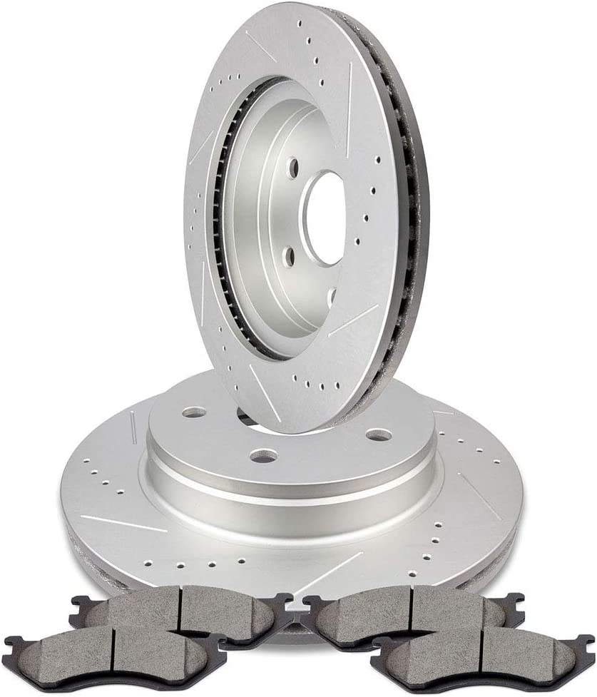 Front Drilled Slotted Brakes Max 75% OFF Rotors FEIPARTS Ceramic fo Pads fit NEW