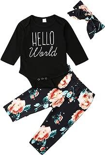 3Pcs/Set Newborn Infant Baby Girl Hello World Romper Jumpsuit Floral Pants Headband Outfit Clothes Set