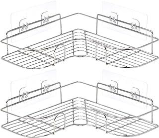 Lot rangement douche sans percage argenté x 2 | Lot etagere douche angle x 2 | Rangement salle de bain 36 x 12 x 6H cm