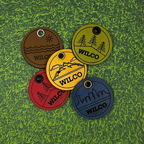 Wilco Supply Company - Custom Premium Themed Handcrafted Leather Pet Identification Tag for a Stylish, Durable and SILENT Alternative to Traditional Metal Dog Tags - Colors:Yellow, Mist, Camel & Green