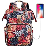 VSNOON Laptop Backpack 15.6 Inch Wide Open Computer Backpack Water Resistant Travel Business Laptop Backpack College School Backpack Laptop Bag with USB Charging Port for Women Girls(Flower4)