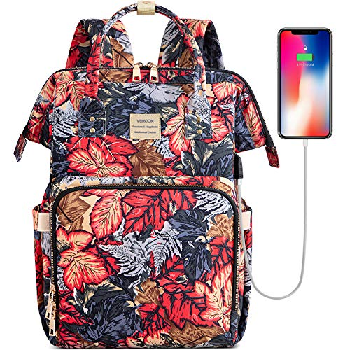 Laptop Backpack,15.6 Inch Stylish College School Backpack with USB Charging Port,Water Resistant Casual Daypack Laptop Backpack for Women/Girls/Business/Travel (Dark Red)