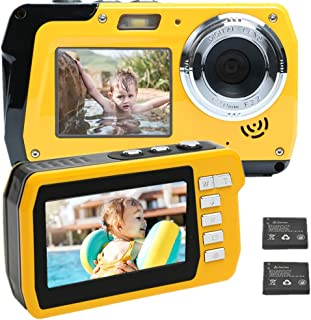 デジカメ 防水 防水カメラ デジカメ 防水 「2020最新版」水中カメラ HD2.7K 48MPデジタルカメラ デュアルスクリーンHD充電カメラ(キャンプ、水中、水泳、最高のセルフィー写真用)日本語説明書付き