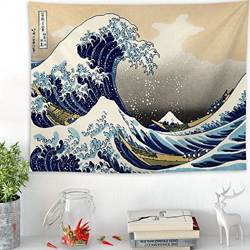 PPOU Kanagawa, Japan Bedruckte Tapisserie Wal Drachen Fisch Wandbehang Tapisserie Boho Tagesdecke Yoga Matte Decke A1 150x200cm