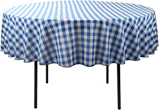 Waysle 90-Inch Round Tablecloth, 100% Polyester Washable Table Cloth for Circular Table, Blue and White Checker