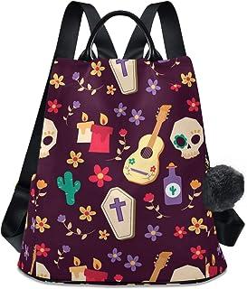 Skulls Guitars Flower Women`s Computer Backpack College School Shoulders Bag Waterproof Travel 12.9 Inch Laptop Backpack with Grey Wool Ball Key Chain