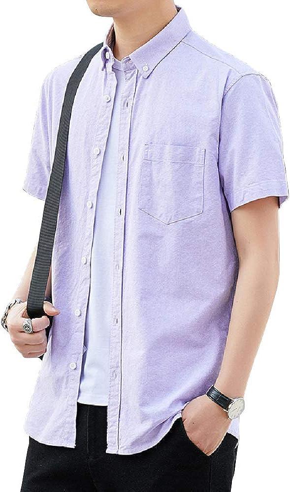 CHARTOU Men's Standard-Fit Short Sleeve Button Down Cotton Oxford Shirt Top