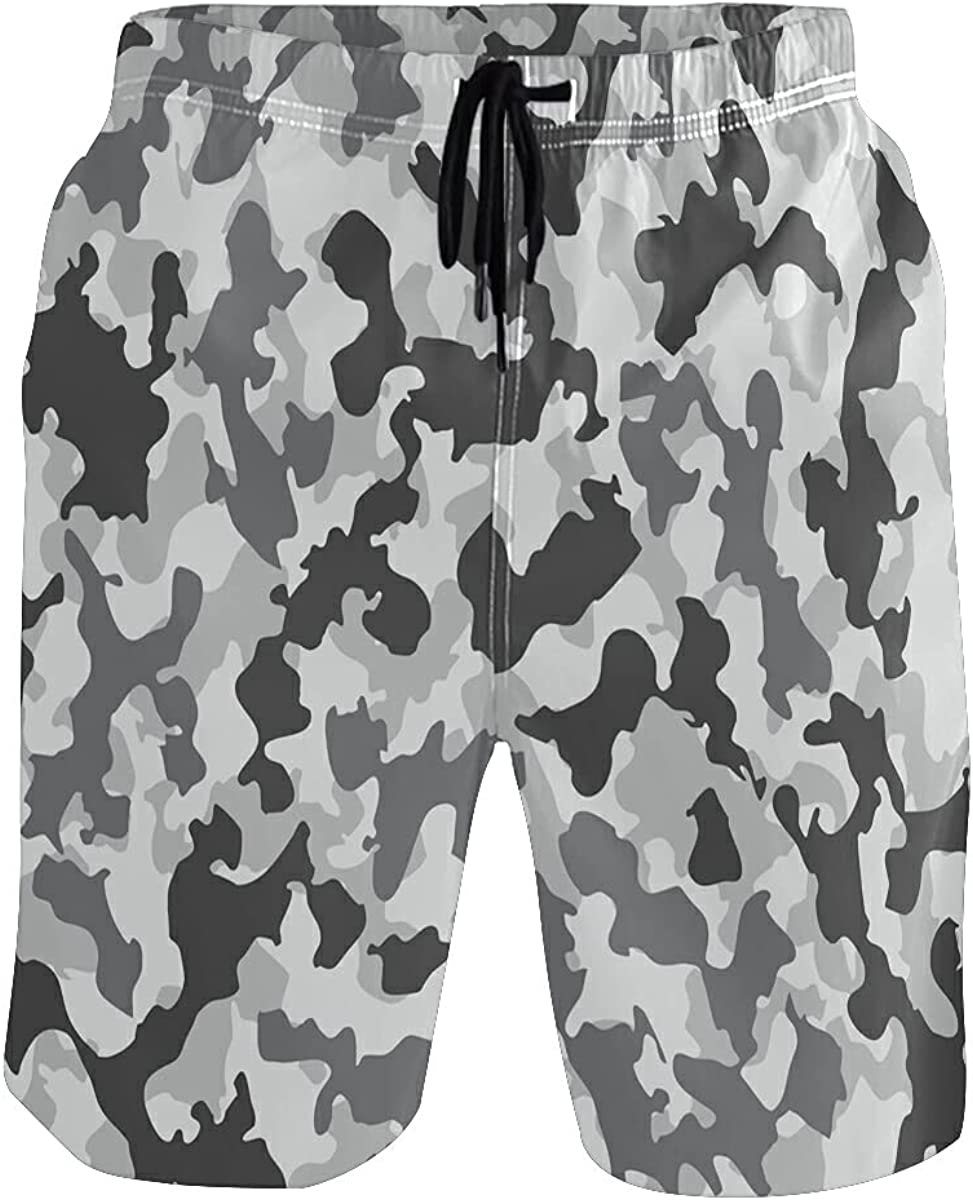 Vnurnrn Cute Camouflage Marble Stone Men's Swim Trunks Quick Dry Shorts with Pockets