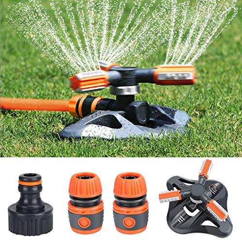 Fixget Aspersor de jardín, sistema de riego de césped mejorado, sistema de riego automático de riego giratorio de 360 grados Pulverizador de 3 brazos con conectores de manguera rápida