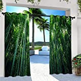 ANHOPE Outdoor Curtains for Patio Waterproof, Top and Bottom Grommet Windproof Curtains with Green Bamboo Forest Pattern for Pergola/Gazebo/Porch/Cabana/Deck/Pool, 2 Panels, 72 X 84 Inch