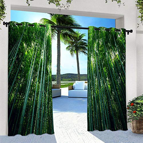 ANHOPE Outdoor Curtains for Patio Waterproof, Grommet Top Curtains with Green Bamboo Forest Pattern for Pergola/Gazebo/Porch/Cabana/Deck/Pool, 2 Panels, 108 X 96 Inch
