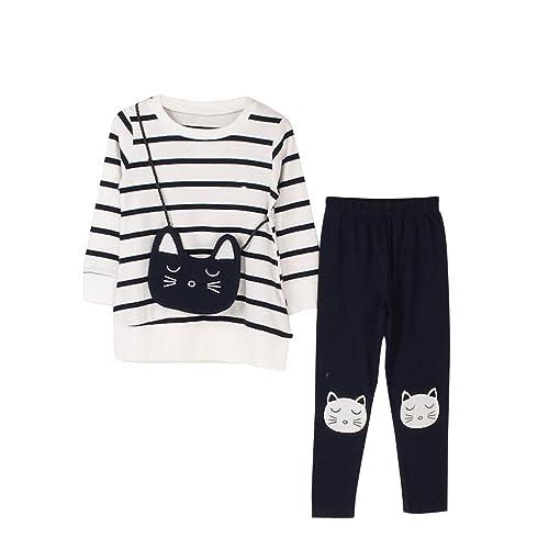 84f8077f7a1f6 Sunenjoy 2 PCs Enfants Filles Bande Dessin Chat T-Shirt Tops + Pantalon  Manches Longues