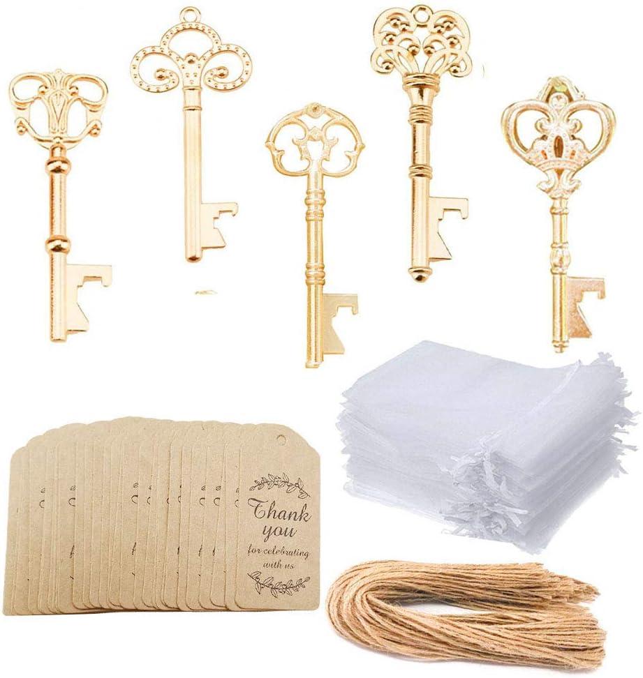 Awtlife 50 Pcs KC Gold Skeleton Key Style Bottle Opener with Spasm High order price 5 T