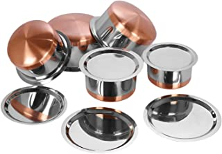 LIMETRO STEEL Copper Base Stainless Steel 5 pcs Tope Set with Lid(5 Pieces, 1 LTR, 1.5 LTR, 2 LTR, 2.5 LTR. 3 LTR.Gas Comp...