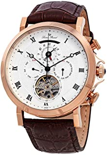 Men's 'Acropolis' Stainless Steel and Leather Automatic Watch, Color:Brown (Model: LP-40021A-RG-02S-BRW)
