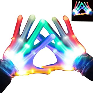 heytech Led Gloves Light-up Party LED Party Supplies Gloves Multicolor Led Glove for Halloween,, Dance Costumes, Kids Games, Light-up Party.