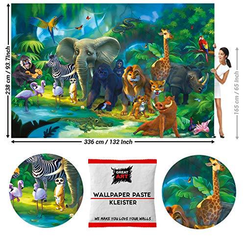 Great Art fotobehang jungle dieren 336 x 238 cm - 8 Teile + Kleister