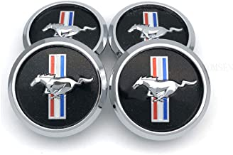 TOMSEN Car Emblem Badge Wheel Hub Caps Centre Cover Black for for 4pcs Mustang Cobra Jet Shelby