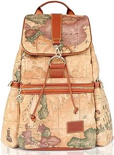 Big Vintage Waterproof Leather Map Backpack College School Bag (Brown)