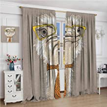 GUUVOR Indie Room Darkened Curtain Sketch Portrait of Funny Modern Ostrich Bird with Yellow Eyeglasses and Tie Insulated Room Bedroom Darkened Curtains W96 x L108 Inch Taupe Beige Yellow