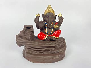11DELIGHTS Handcrafted Polyresin Showpiece Ganesha Smoke Backflow Cone Decorative Incense Holder (Red) with 10 Backflow Sc...