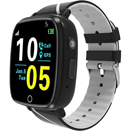 Kids Smart Watch,Children GPS Smartwatches with Call Voice Chat SOS Alarm Clock Camera Smart Watch for Children 4-12 Years Old Compatible with iOS / Android,Christmas Birthday Gifts for Kids (Black)