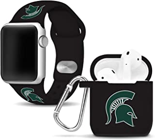 Affinity Bands Michigan State Spartans Silicone Watch Band and Case Cover Combo Compatible with Apple Watch and AirPod Case