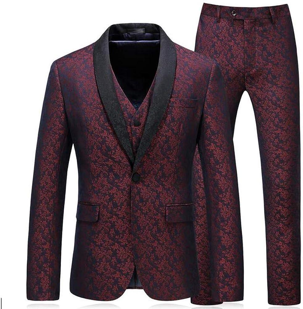 Mens Burgundy Elegant Jacquard 3 Pieces Suits Slim Fit Men Tuxedo Groom Suits
