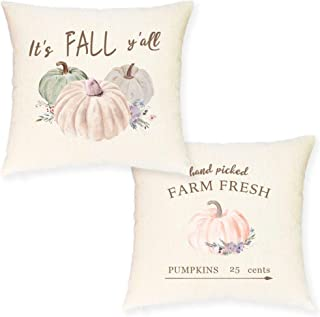 JYNHOOR Fall Pillow Covers –Set of 2 Watercolor Pumpkin Pillow Covers for Fall Decor- Autumn/Harvest/Farmhouse Decorative Pillow Case18x18 Inch