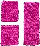 Widmann 05832 - Neon Schweißbänder, Stirnband und 2 Armbänder, pink, 80er Jahre,...