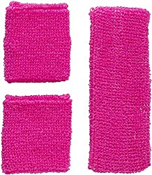 Widmann 05832 - neon sweatbands, headband and 2 bracelets, pink, 80s, clothing accessories, retro style, sports and fan world, disco, themed party, carnival