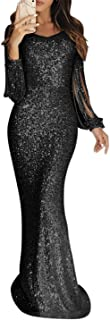 Womens Sexy Sequins Tassel Long Sleeve Party Cocktail Bodycon Dress
