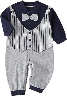 طفل الفتيات الفتيان القطن محبوك مخطط مقنع البلوز رومبير الوليد بذلة ملابس 0-18months (Color : Blue, Size : 12M)