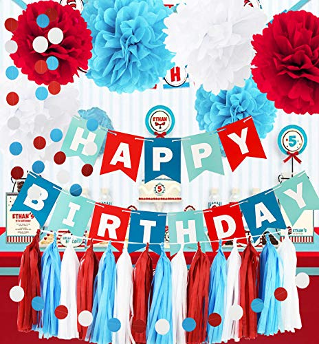 Qian's Party Dr Seuss Cat in the Hat Birthday Party Decorations/Dr Suess Decor Thing 1 and Thing 2 Decorations Turquoise White Red HAPPY BIRTHDAY BANNER Airplane Birthday Decorations