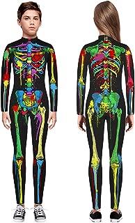 🍒 Spring Color 🍒 Kid's Glow in The Dark Skeleton Bodysuit Halloween Costume for Girls & Boys