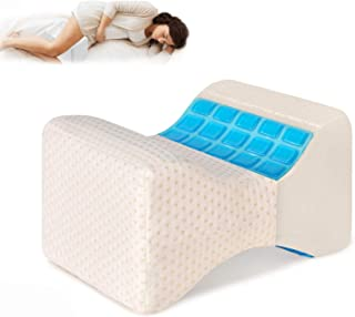 Gluckluz Knee Pillow with Cooling Gel Leg Pillow Wedge Memory Foam Pillows for Side Sleepers Contour Leg Support for Surge...