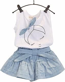 Lanhui Kids Girls Cute Bow Girl Pattern Shirt Top Grid Shorts Set Clothing