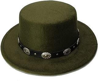 Elegant Hats Women Men Vintage Wool Wide Brim Cap Pork Pie Porkpie Bowler Hat Punk Alloy Bead Leather Band by Original Design Natural Caps (Color : Green, Size : 57-58CM)