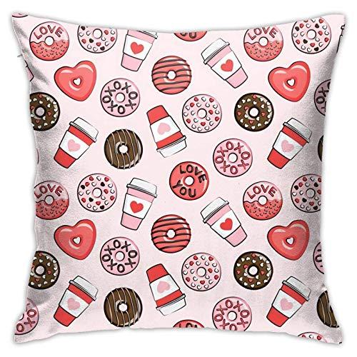 Funda de almohada, diseño de rosquillas, color rojo, rosa, chocolate en rosa, funda de cojín moderna, decoración cuadrada para sofá, cama, silla, coche, 45,7 x 45,7 cm