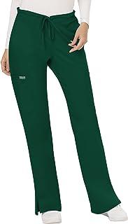 Cherokee Workwear Revolution Women's Mid Rise Moderate Flare Drawstring Scrub Pant, Hunter Green, XL