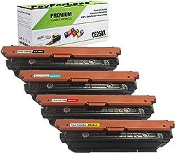 PayForLess Compatible 504X CE250X CE250A CE251A CE252A CE253A Toner Cartridge 4PK for HP Color Laserjet CP3525n CP3525dn CP3525 CP3525x CM3530 CM3530fs