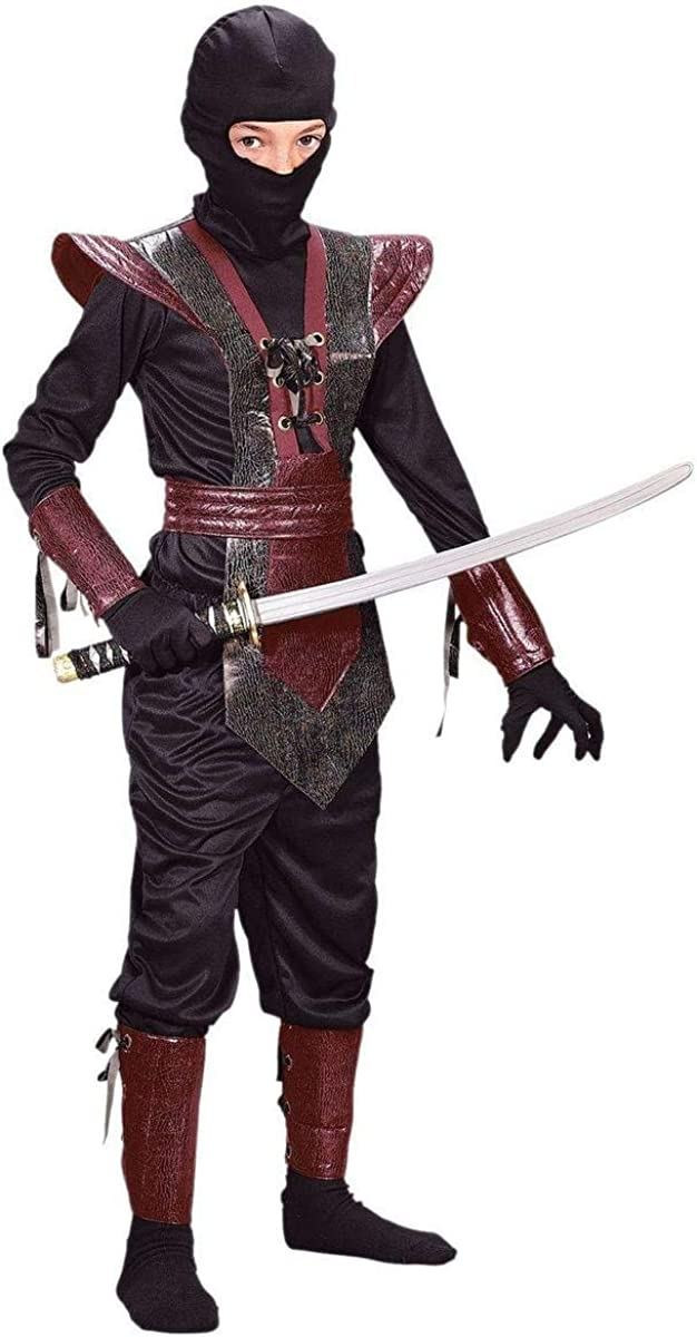 Fun World Ranking integrated 1st place Leather Ninja Fighter Costume Child Bargain sale Red