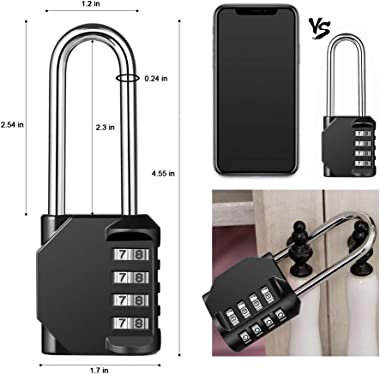 Disecu 4 Digit Combination Lock 2.5 Inch Long Shackle and Outdoor Waterproof Resettable Padlock for Gym Locker, Hasp Cabinet,