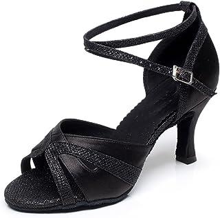 MINITOO Chaussures de Danse Latine pour Femmes Chaussures de Danse Tango Valse Fête Sociale Salsa Chaussures De Mariage QJ...