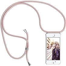 YuhooTech Funda con Cuerda para iPhone 7/ iPhone 8/ iPhone SE 2020, [Moda y Practico] [ Anti-Choque] [Anti-rasguños] Suave Silicona Transparente TPU Carcasa de movil con Colgante/Cadena, Oro Rosa