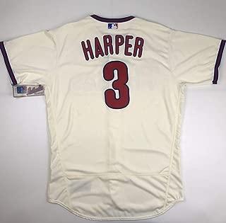 Authentic Bryce Harper Cream Size 48 XL Extra Large Philadelphia Phillies Majestic Flex Base Jersey